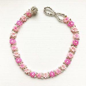 Vintage pink & silver beaded flower bracelet